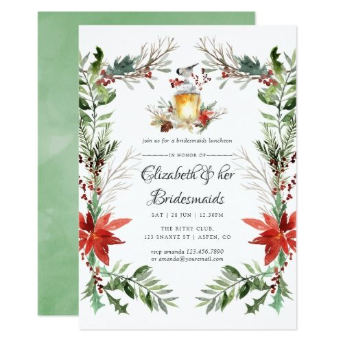 wintertide woodland christmas bridesmaids luncheon invitation in