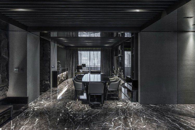 Table Rectangulaire Noir Laque Chaises Gris Anthracite Faux