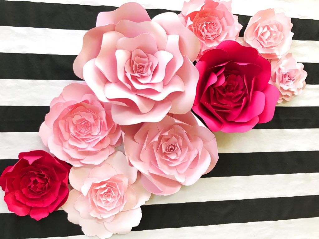 Paper flowers for weddings events home decor diy templates and pre kate spade inspired paper flower wall decor for baby nursery wall art pink wedding shower baby shower decor mightylinksfo