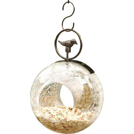 Invite feathered friends to your yard with this lovely glass bird feeder, showcasing a crackled design and petite songbird finial....