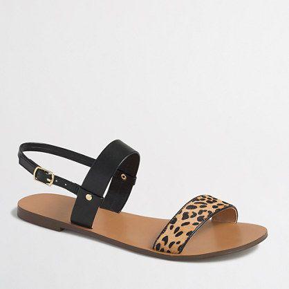 J.Crew+Factory+-+Factory+calf+hair+double-strap+sandals