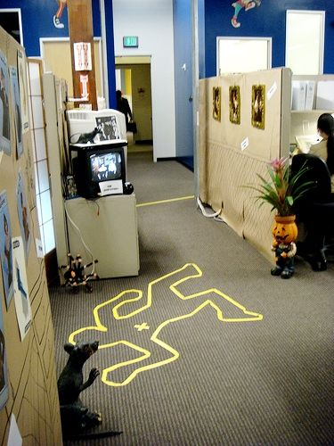 Halloween -- We should do this at work lol Pod Busters Halloween - halloween office decorating ideas