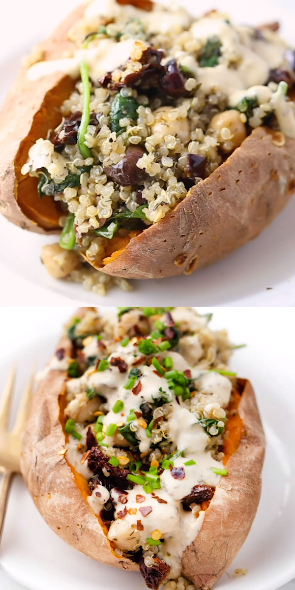 Vegan Stuffed Sweet Potatoes recipe filled with a Mediterranean Quinoa using sun-dried tomatoes, olives, spinach and tons of flavor! Super healthy and easy - baked in the oven! Delicious vegan and gluten-free dinner idea. #sweetpotatorecipes #stuffedsweetpotato #mediterraneanquinoa