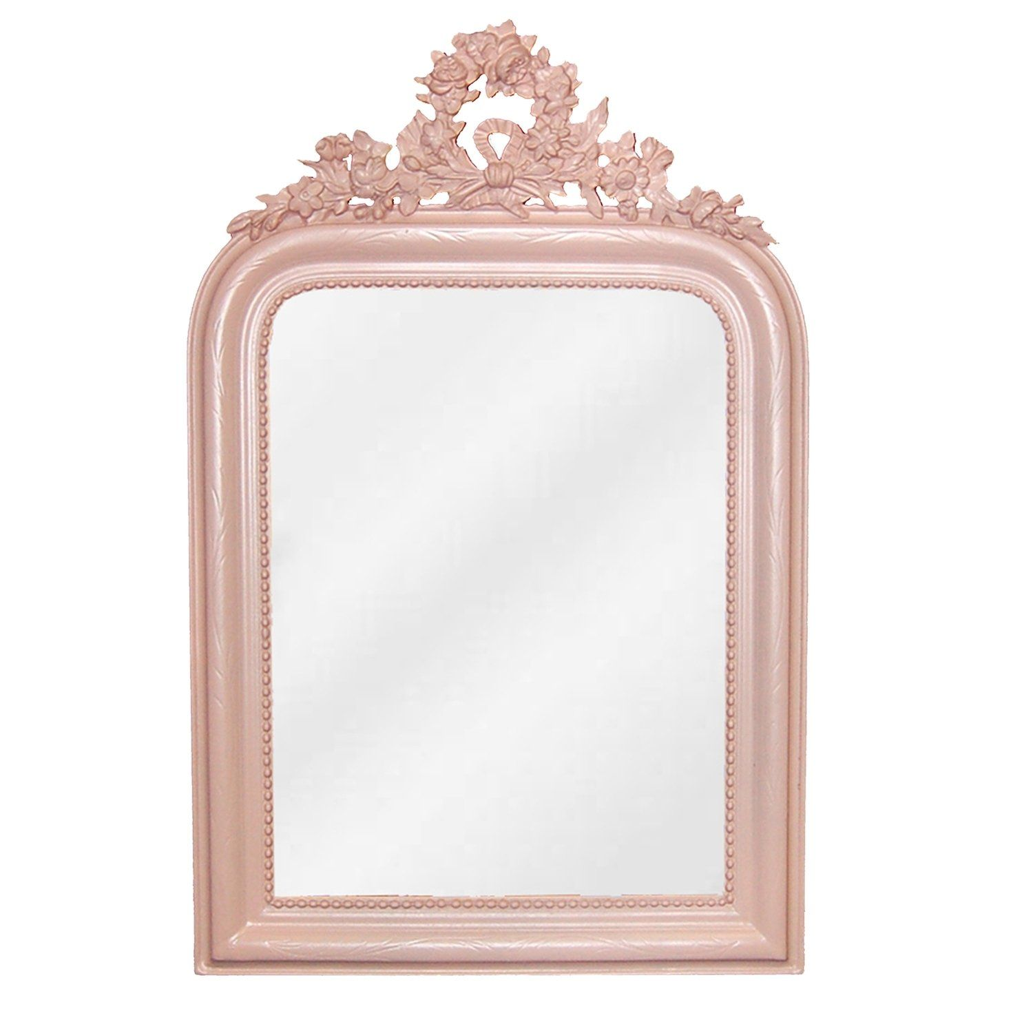 Inspired by 19th-century style, meticulous details and a regal floral wreath top make the wreath mirror shine with sophistication. In a classic rounded-top rectangle shape, the wreath mirror features subtle swirled carvings along the entire frame and a beaded accent along the inner trim. A royal addition to any space. 28