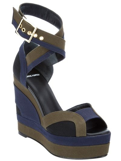 1c8e32180396 Tri-colour leather wedge sandal from Pierre Hardy featuring a peep ...