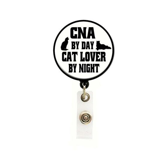 CNA Retractable Badge Reel - Medical Badge Reels - Tech ID Holders - Gifts Under 10 - Designer ID Reels Badge - Cat Lover - Certified Nurse on Etsy, $7.75
