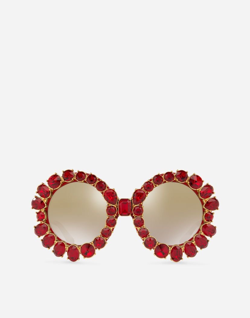 Women's Sunglasses | Dolce&Gabbana - ROUND SUNGLASSES WITH COLORFUL CRYSTALS