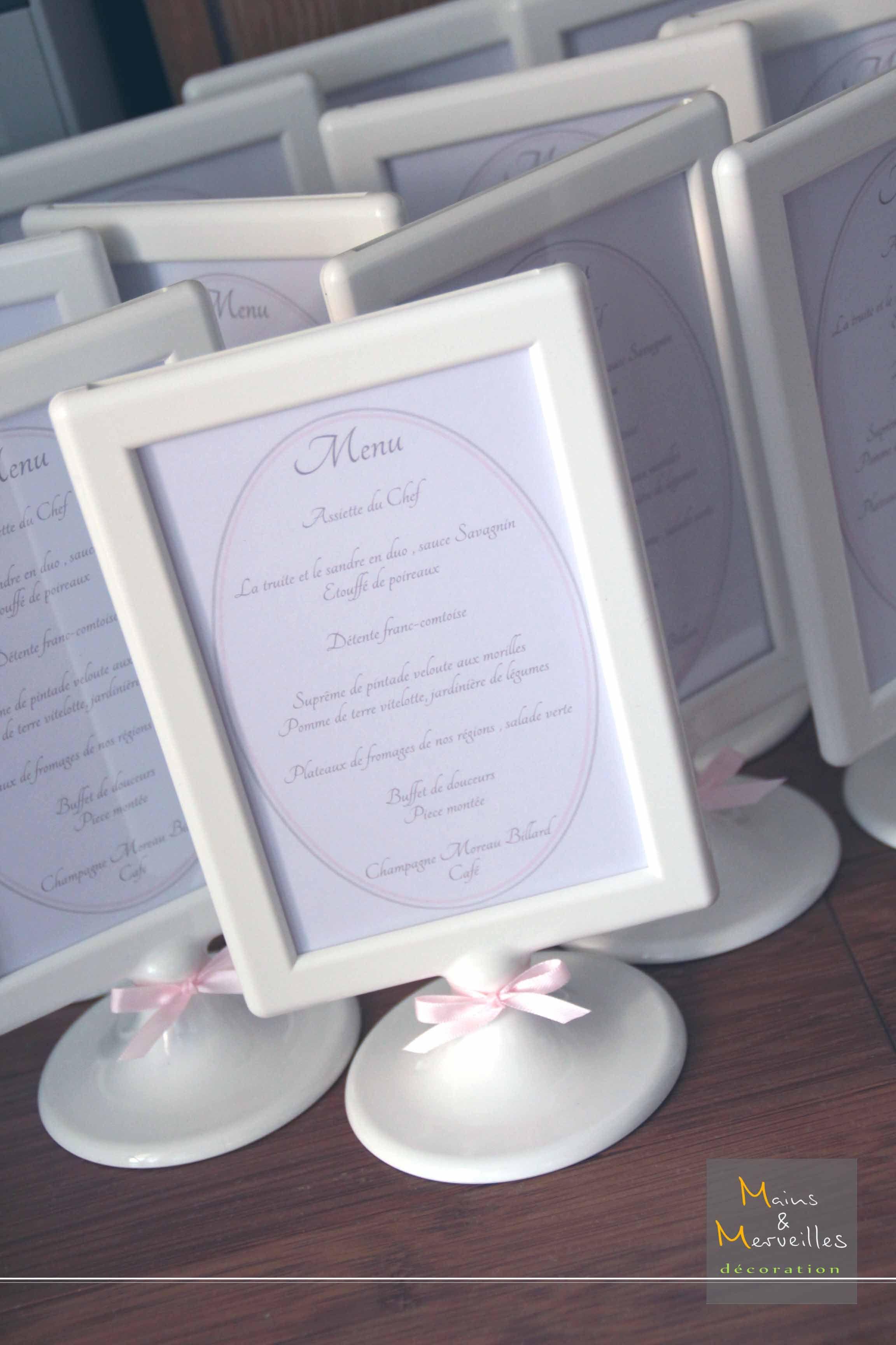 menu de mariage en blanc gris et rose invitation en. Black Bedroom Furniture Sets. Home Design Ideas