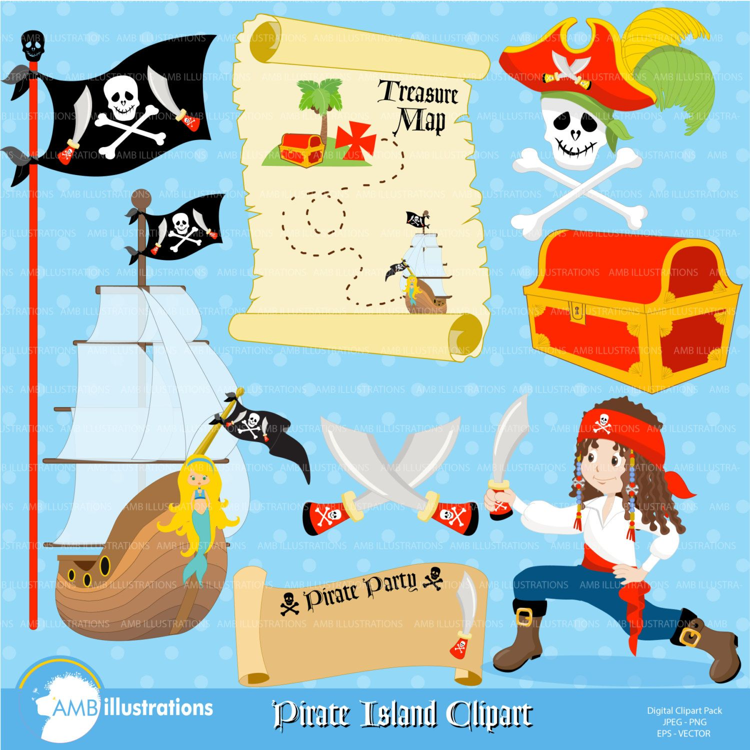 Pirate Clipart Pirate Ship Treasure Map Treasure Chest and Skull
