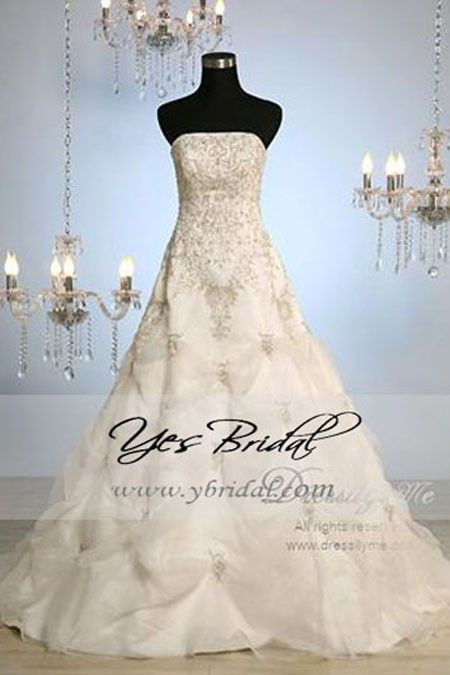 Ball Gown Strapless Semi-cathedral Train Capri Organza Wedding Dress