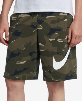 Nike Men's Sportswear French Terry Camo Print Shorts Green