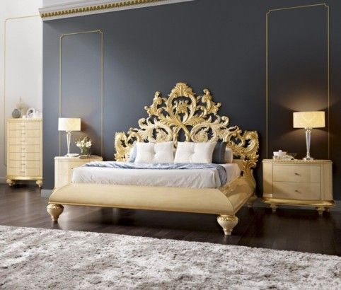Best Gold And Glossy Cream Carved Royal Queen Bedstead With 400 x 300