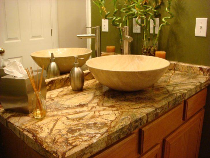 Bathroom Design Using Brown Onyx Bathroom Vanity Top Including Round White Ceramic  Bathroom Vessel
