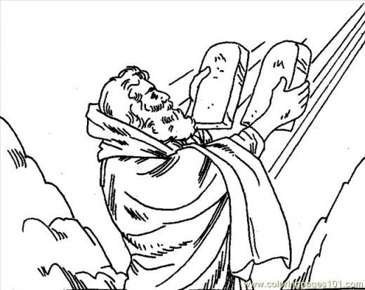 Bible Stories Coloring Page Of Moses And 10 Commandments