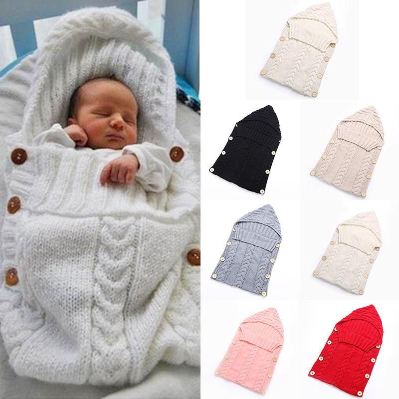 8019d3913503 Swaddle Wrap Baby Blanket Newborn Infant Girls Boys Knit Crochet ...