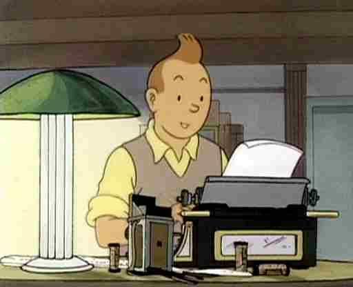 Tintin, reporter, globe traveller, writing at his typewriter • Tintin, Herge j'aime