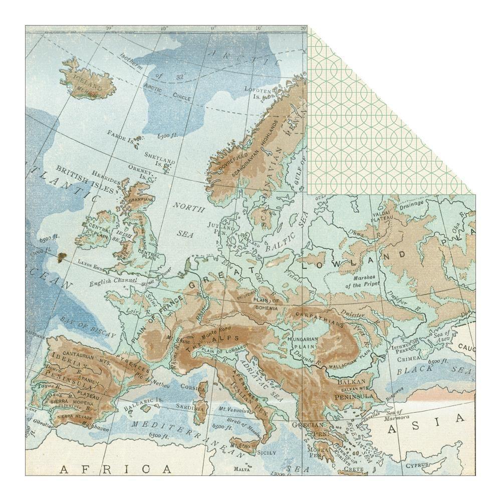 How to scrapbook family tree - Carte Postale Sunset Boulevard Europe Map Scrapbook Paper