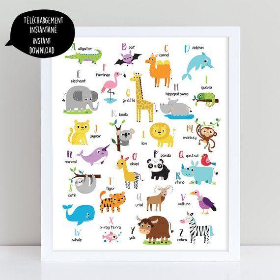 ENGLISH animal alphabet, alphabet print, jungle animal