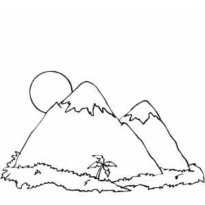 Mountains Palm Tree Coloring Qxnee