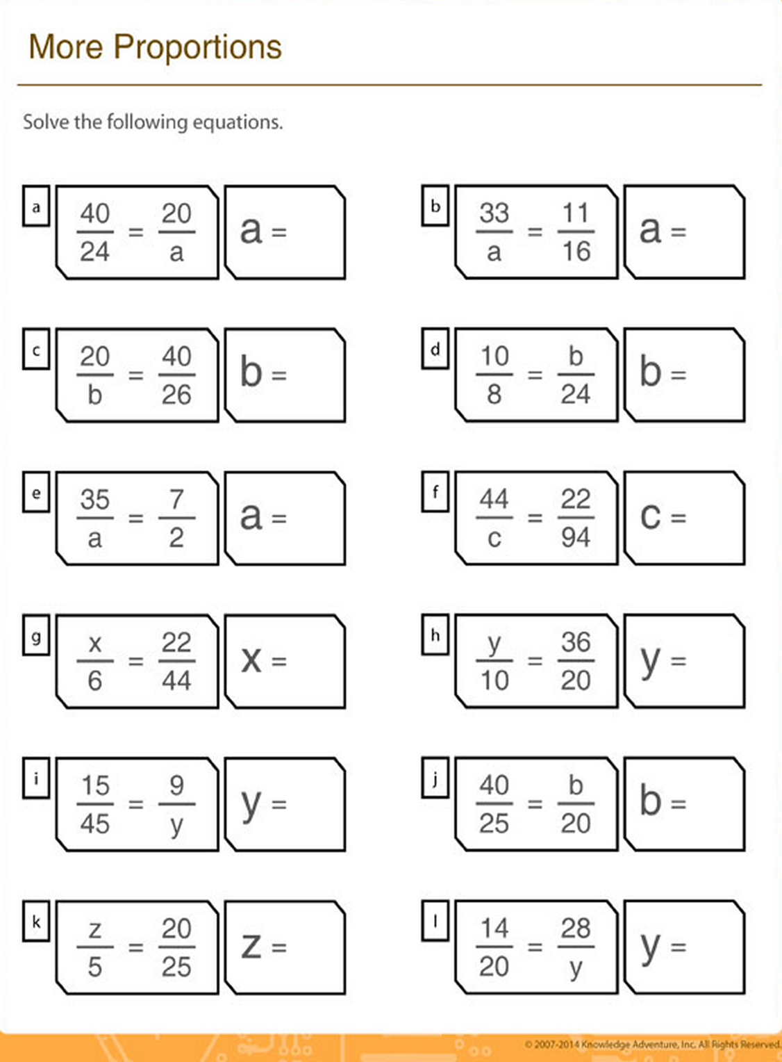 Solve The Missing Proportion Math Printable Worksheets