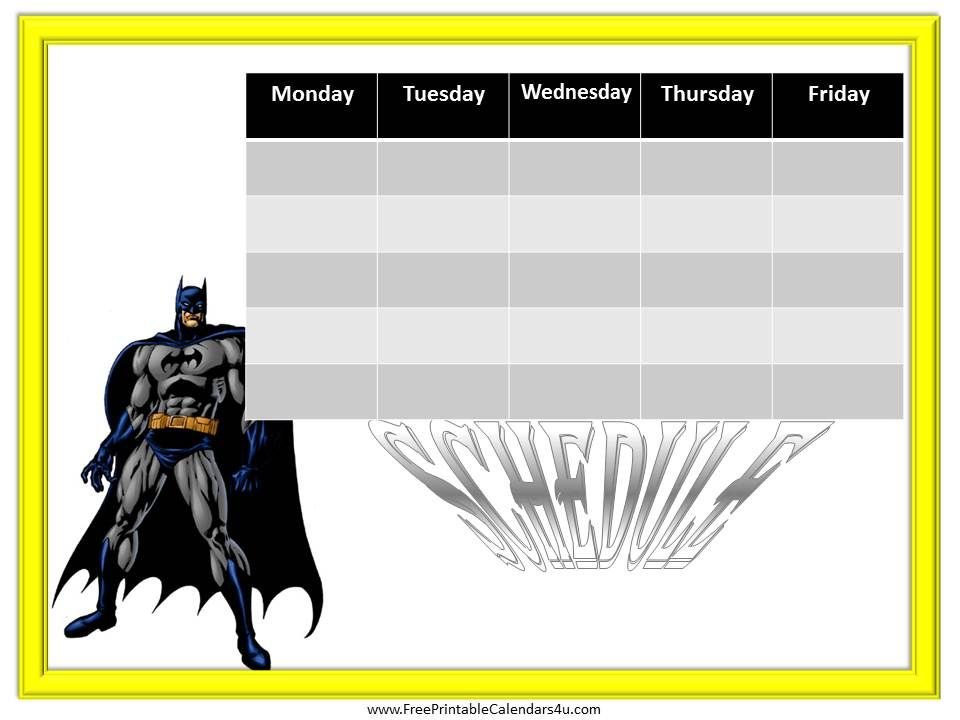 Batman Free Weekly Calendar Template  Weekly Calendar For Boys