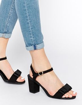 New Mid Fit Look There Tie Black Wide Heeled Sandals Barely xBCerdoW