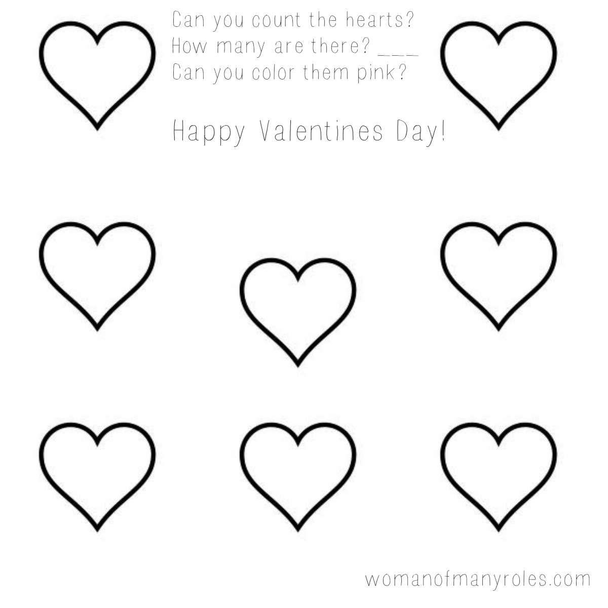 7 Heart Preschool Worksheet