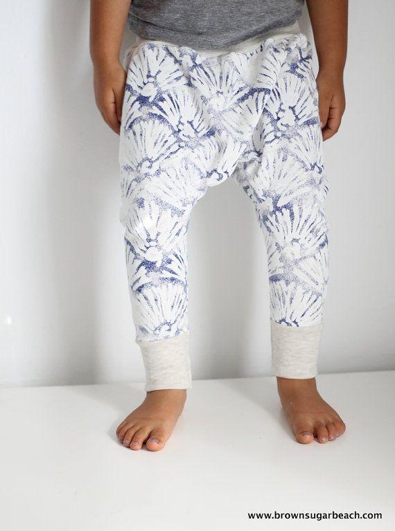 Kids Summer Sarouels Harem Pants 6m6y Blue Shell By Bsugarb 24 00