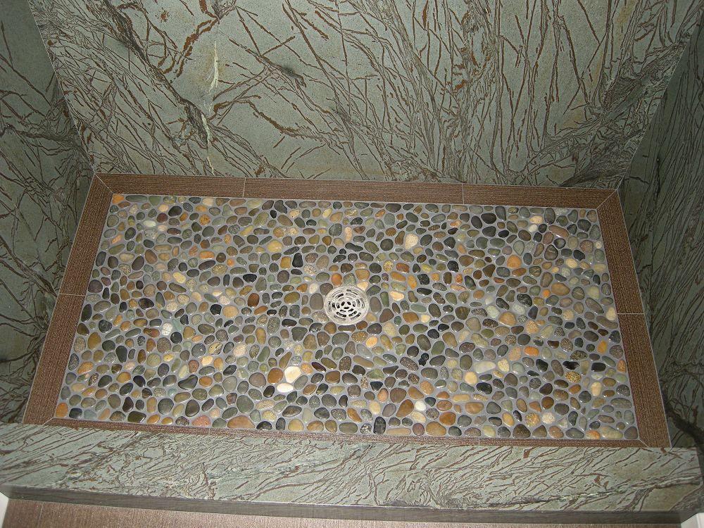 Pebble Floor Tile sliced natural pebble stone floor and wall Pebble Shower Floor Shower Floors Systems