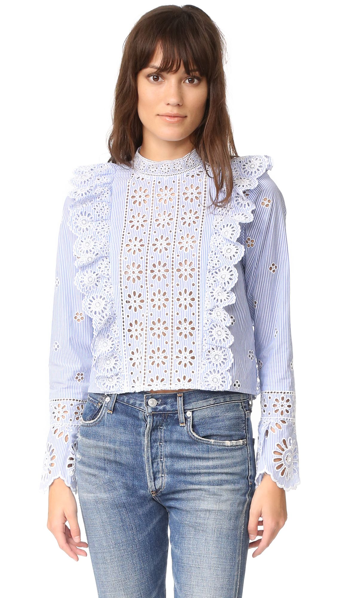 77cb2af4fe2a3f Spring Style Ideas. Blue and white stripe ruffle lace top. | Fashion ...