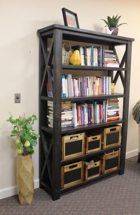 Rustic x book case do it yourself home projects from ana white rustic x book case do it yourself home projects from ana white solutioingenieria Gallery