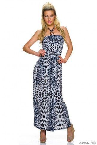 Αέρινο animal print μάξι φόρεμα - Μαύρο Άσπρο  11535da86dc