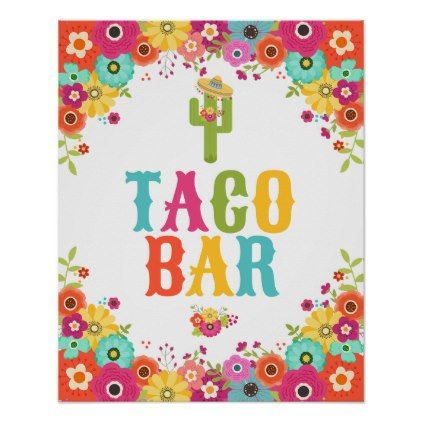 Taco bar poster fiesta party table sign taco bar fiesta party and table signs