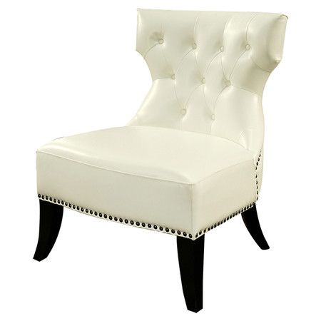 Add a touch of refinement to the library or bring classic appeal to your living room seating group with this lovely tufted accent chair, featuring flared leg...