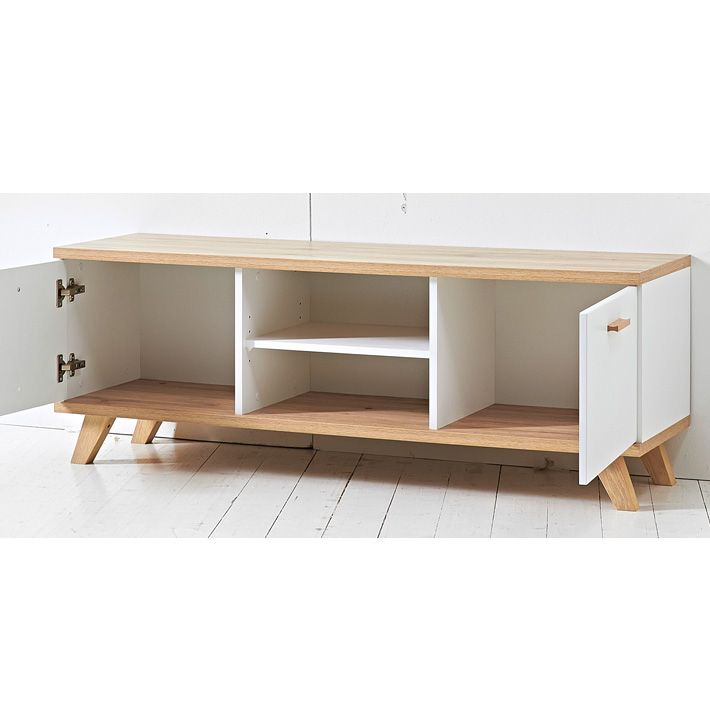 meuble tv scandinave 2 tiroirs 144x40cm malmo meuble tv blanc meuble tv et tv. Black Bedroom Furniture Sets. Home Design Ideas