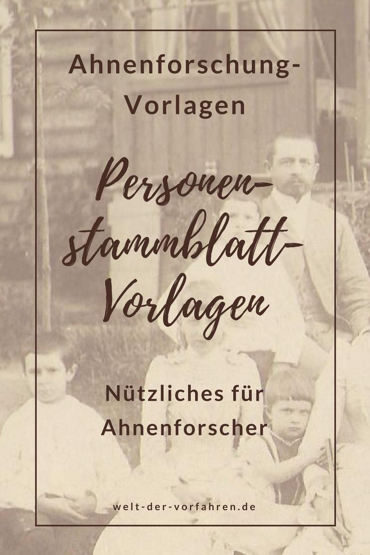 Ahnenforschung-Vordrucke: Personenstammblatt-Vorlage ...