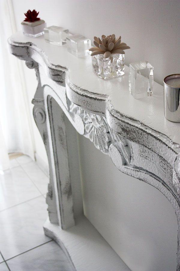 Faux fireplace camino decorativo shabby chic in resina - Finti camini decorativi ...