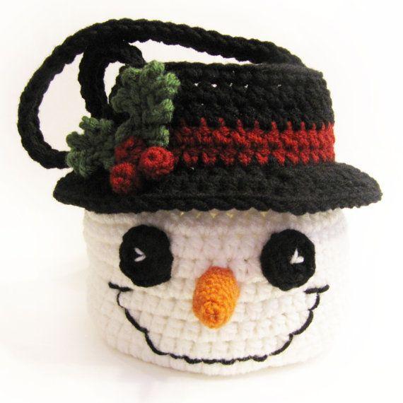 Bebe · Décorations De Noël · Tricot Moulé · Téléchargement immédiat du  panier CROCHET PATTERN de bonhomme de neige - bol de sac df5f73688a0