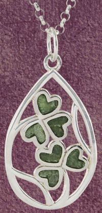 Connemara Marble Sterling Shamrock Necklace Gift For Kyah