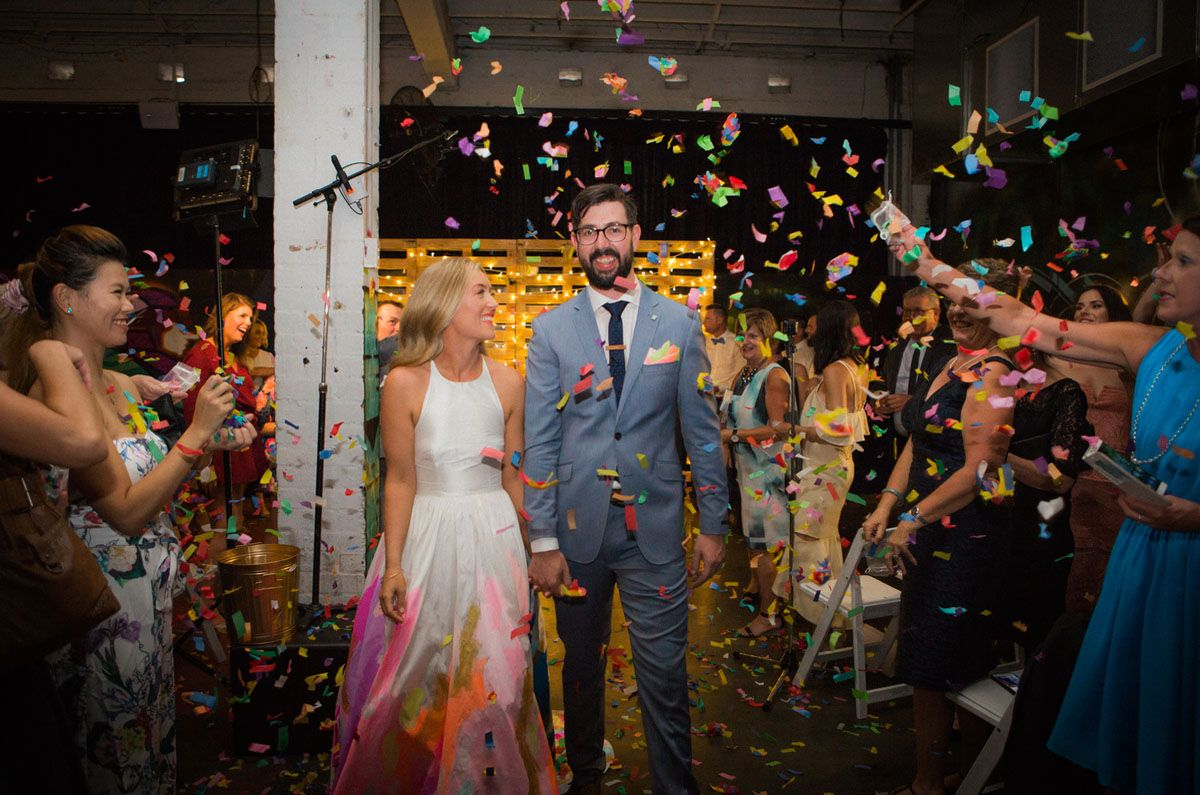 The Bride Wore a Hand-Painted RAINBOW Wedding Dress | Confetti ...