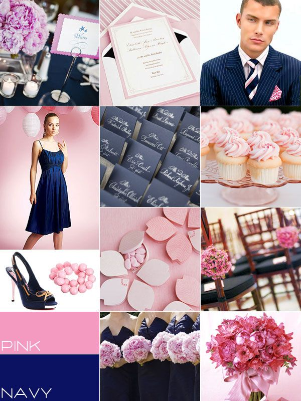 Navy Blue Pink Wedding Colors Palette