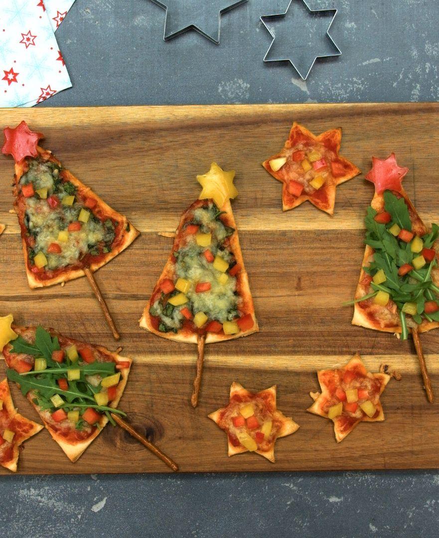 Weihnachtsessen Kindern Rezepte.Pizza Weihnachtsbäume Mit Rucola Spinat Und Paprika