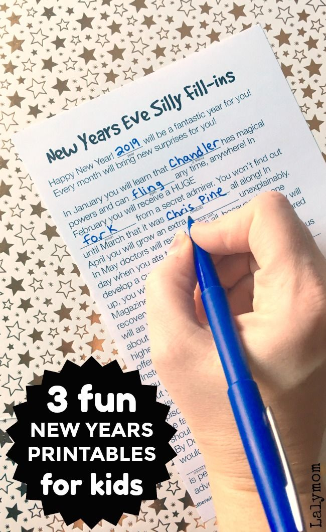3 Super Fun New Year's Eve Printables for Kids