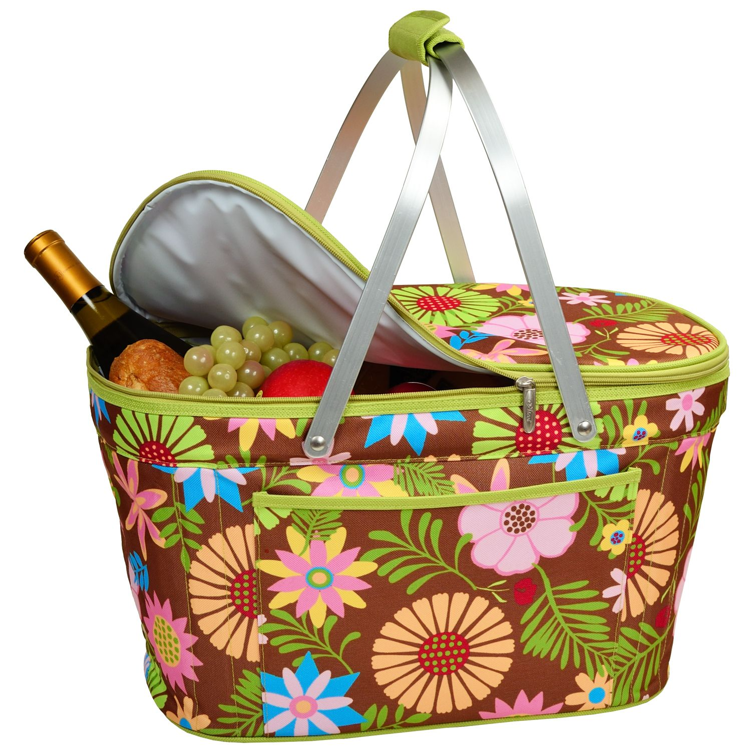 Collapsible insulated basket floral pattern picnic at