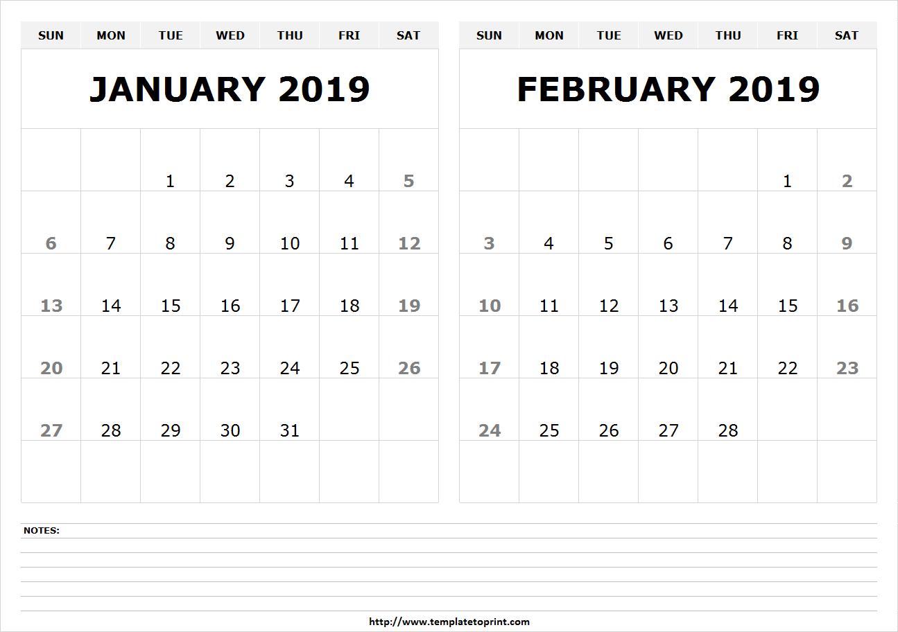 January February 2019 Calendar Template January & February 2019 Calendar   250+ Free Monthly Calendar