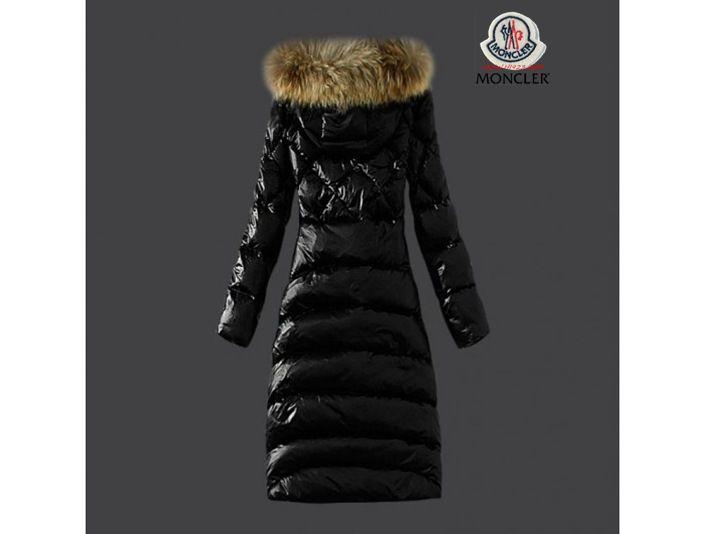 outlet moncler damen mode schwarze lange daunen mantel. Black Bedroom Furniture Sets. Home Design Ideas