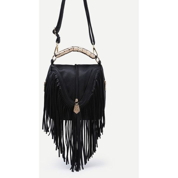 Black Zip Embellished Fringe Trim Flap Bag ($32) ❤ liked on Polyvore featuring bags, handbags, zip bag, hand bags, decorating bags, zipper bag and zipper purse