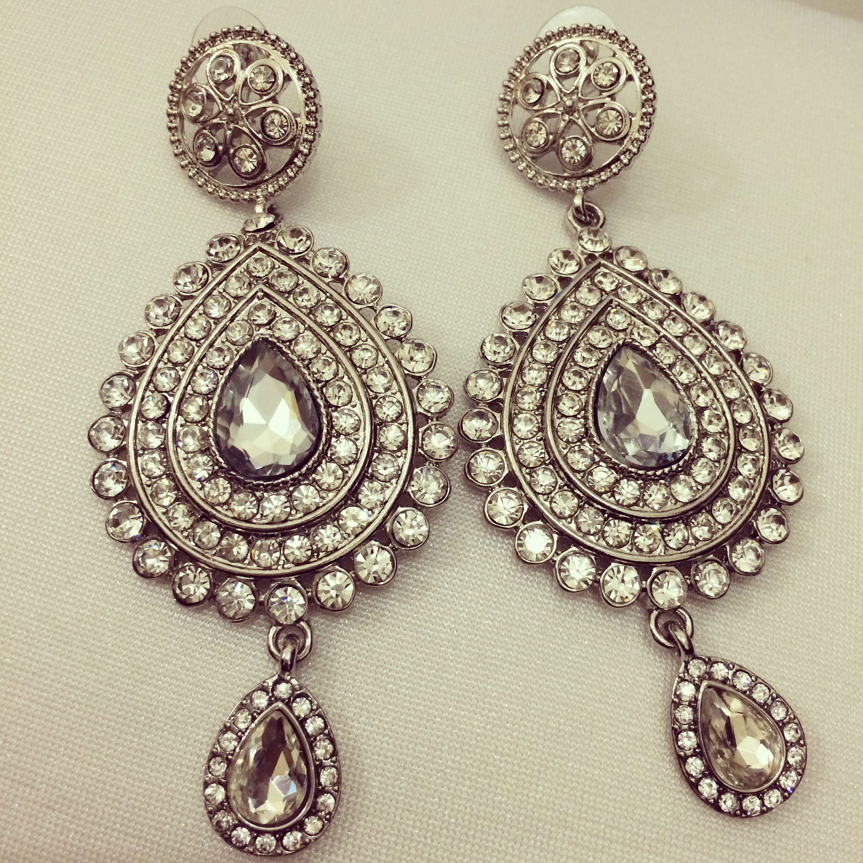Indian earrings silver stone shadi wedding bridal eid