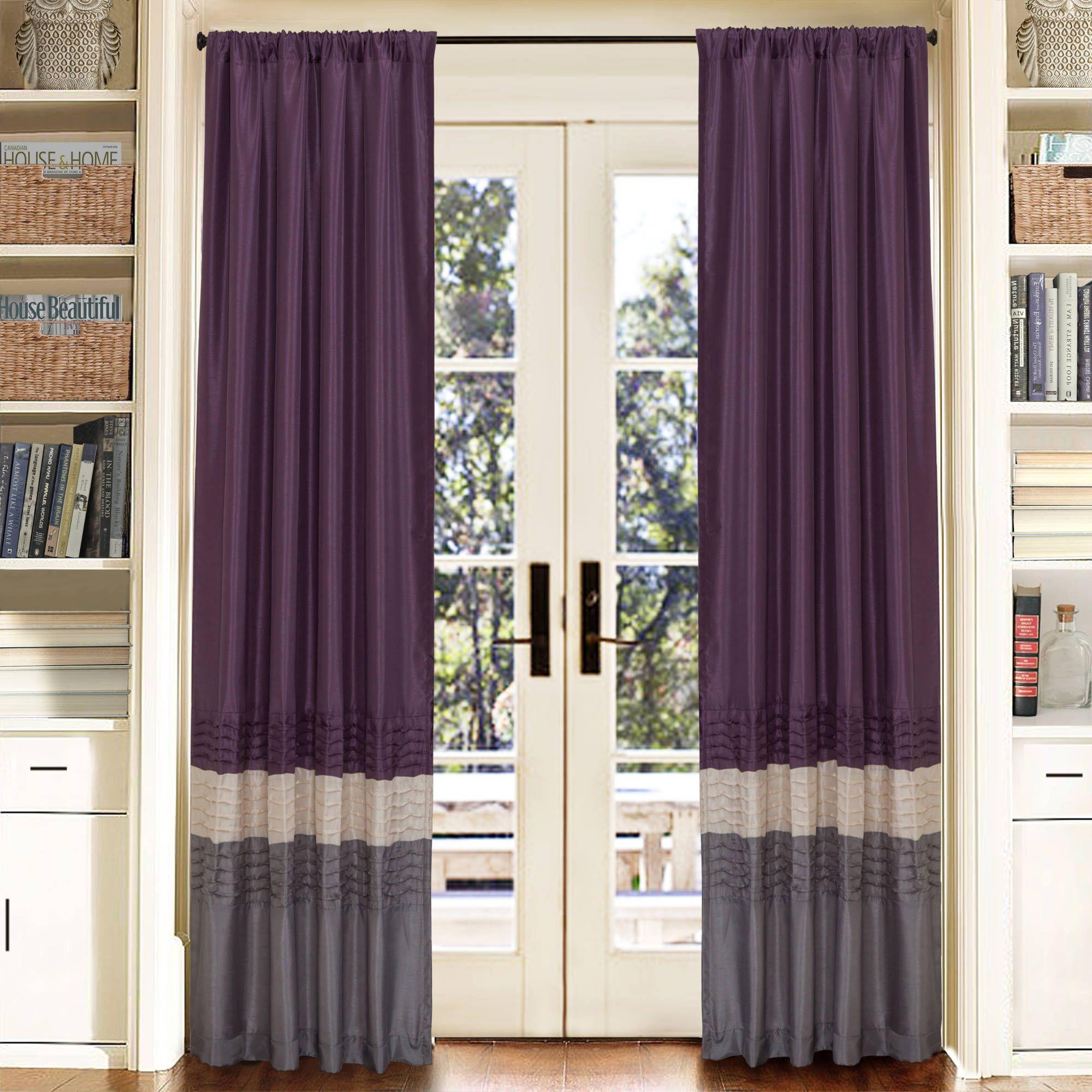 Mia Gray Purple Window Curtain Set 54x84 Walmart Com In 2020 Purple Window Curtains Purple Curtains Window Curtains