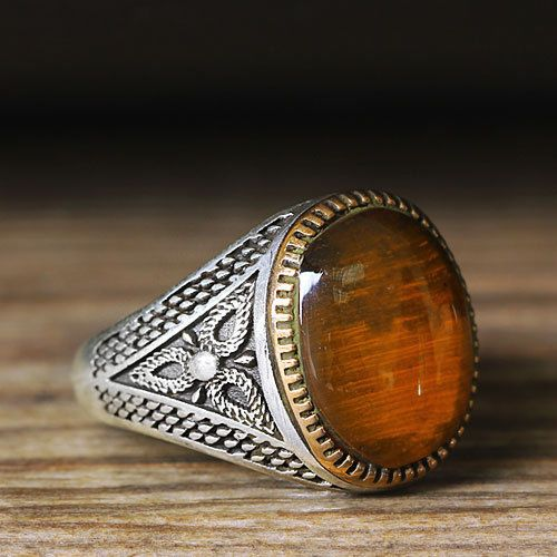 Turkish Handmade 925 Sterling Silver SPECIAL Amber Mens Ring Sz 10 us Free Rsz